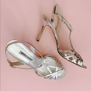 Manolo Blahnik Silver Strappy Heels